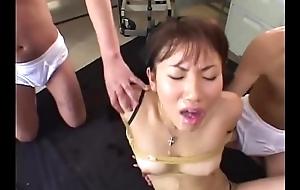 Japanese Teen tied added to used as Cum Bucket - Japanese Bukkake Orgy