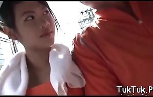 Skilled thai bitch jumps aloft a knob