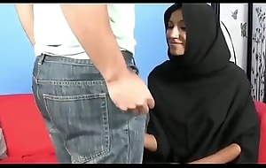 Muslim Hijab girl jerks big sickly cock