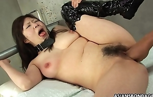 Collared Asian endures rough ID card and a nipple torture