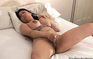 Femorg Chubby Boobed Curvy Asian in Unmentionables Masturbates Hairless Twat