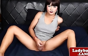 Ladyboy looker solo spreading her tight ass
