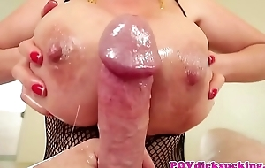 POV deepthroating asian milf jizzed round mouth