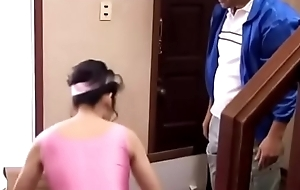 Housewife fucked by salesman while her tighten one's belt is not in home