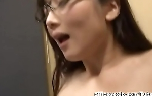 Horny Japanese AV Incise in glasses seduces young guy