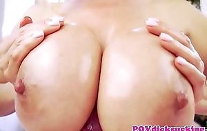 Titfucked asian milf engulfing cock in pov