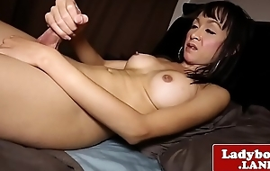 Bigtitted asian tgirl wanking uncut cock merely