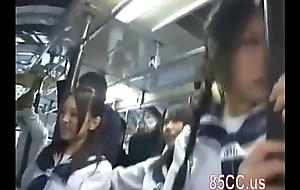 Asian schoolgirls groped in a omnibus