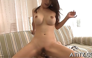 Oriental titty fuck during three-some