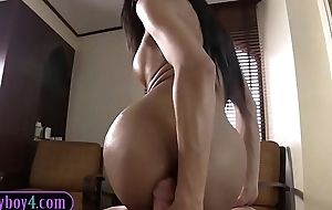 Amazing Thai ladyboy pamper devours a huge white cock