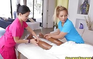 Japanese massage babes triofucking BBC