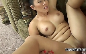 Asian hottie Nikko Jordan takes a weasel words close to the brush tight twat
