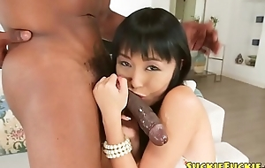 Shy japanese beauty swallows cum out bbc