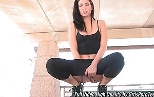 Porn Janessa petite brunette broadly fingers slit
