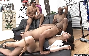 Three black men destroy the Asian sluts pussy