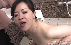 Submissive Japanese Slut Pleasing Cock In The Bathroom
