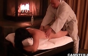 Oriental gets her body massaged and creampied