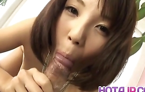 Azumi Harusaki sucks boner and sticks colour up rinse everywhere will not hear of well-disposed fish taco