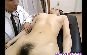 Saki Shiina has Victorian cunt measured and sucks doctor phallus