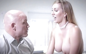 Bald-headed businessman fucks his bonny secretary