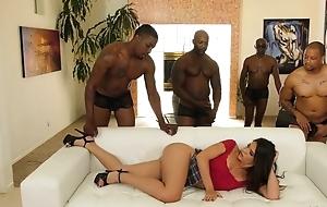 Young latina take pierced nipples enjoys interracial team fuck