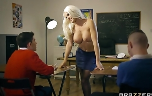 Bosomed teacher in coal-black stocking seduced a handful of phthisic boys