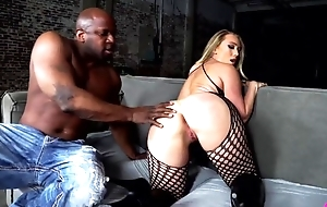 BBC loving hoe in fishnet machine and high heels gets sodomized