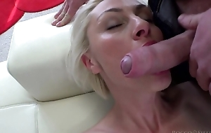 Hungarian blondie with natural heart of hearts takes on huge Italian cock