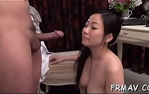 Crude oriental oral bustle increased by toying