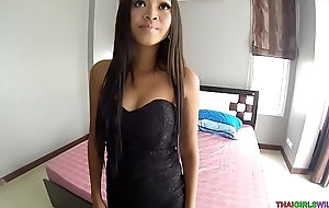 Foxy Asian babe anfractuosities down and engulfs my cock
